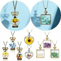 Love Heart Glass Locket Pendant Real Dried Pressed Flower Necklace Women Jewelry