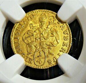1740 Austria Salzburg Gold 1/4 Ducat NGC MS 66