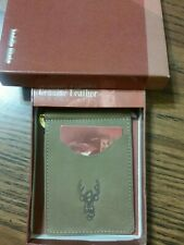 GENUINE LEATHER BIFOLD MONEY CLIP WALLET-BROWN,White tail deer,Hunting