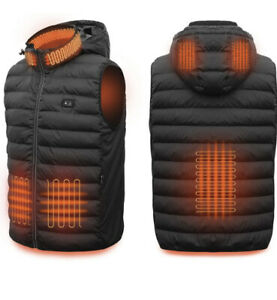 NWT YiSheng Men's Heated Vest w/ Detachable Hood and Battery Pack Sz Medium