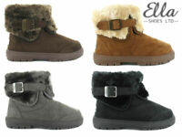Ladies Ella Winter Boots Faux Fur Ankle Warm Buckle Snug Sheepskin Comfort Shoes