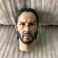 """Freeship 1/6 Scale Keanu Reeves John Wick 2.0 Head Sculpt battle damaged fit 12"""""""