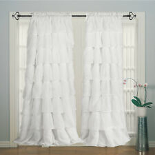 Plain Solid curtain 100% Cotton Hand Designed Ruffle Curtain Panels for curtains