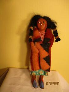"9""  antique Skookum  Bully Good doll composition head wool blanket"