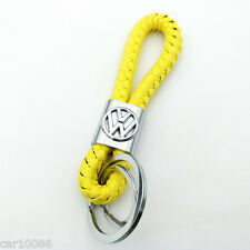 Yellow Braided Leather Cord Key Chain Car logo KeyChain Key Ring for Volkswagen