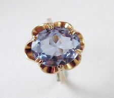 100% Genuine Vintage 9ct Solid Yellow Gold 5cts Natural Topaz Ring. Sz 8 US