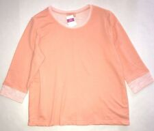 FRESH PRODUCE 1X Melon Sherbert Sunset FRENCH Terry 3/4 Sweatshirt Top NWT New