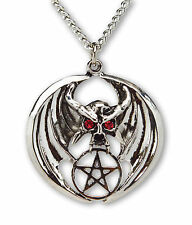 Winged Demon Pentacle with Red Crystal Eyes Pendant Necklace NK-266