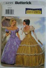 Butterick 6195 History Reenactment Pattern Women Southern Belle Dress Sz 6 8 10