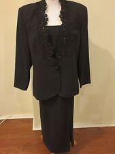 Karen Miller 2 pcs Skirt Suit w/Bead Work on Jacket black vintage Sz 18 Formal