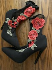 Black Sheer Rose AppliquÉ Pull On Boot High Heel Shoes Size 8 New Never Worn