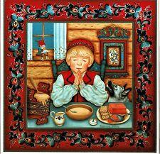 "Norwegian Trivet Tile  ""Boy Saying Table Prayer""  Suzanne Tofte art  6"" X 6"""