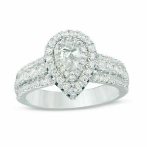 New Vera Wang Love Collection 2.5 CT Pear Cut Diamond & Sapphire Engagement Ring