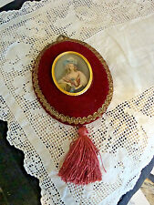 Victorian Style Red Velvet  Frame Lady with Hat Cameo Picture Tassel