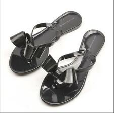 D12 Fashion Lady's Flat Jelly Cute Bow Sandals Shoes Rubber Sole Slipper Shoe UK
