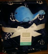 New Hudson Baby Boy'S Plush Blanket & Security Blanket Set 30 X 36 Blue Whale