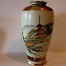 antique  Japanese Satsuma vase Meiji period pagoda mountain