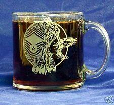 USAF CMSgt CHIEF etched 13oz Glass Coffee Mug