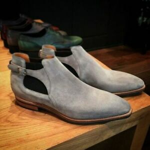 NEW-Handmade Mens Gray Suede Leather Jodhpurs Boots, Men Monk Strap Ankle Shoes