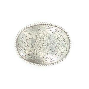 Nocona Mens Oval Scrolled Silver Belt Buckle 37222
