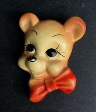 Vintage chalkware decor plaque bear bowtie nursery childs room 1940s 1950s