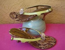 Beverly Feldman Thong Sandal *size 8 * BLING Slingback Kitten Heel Green Croc