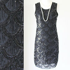 GREAT GATSBY 1920s BLACK FLAPPER DOWNTON ABBEY CHARLESTON PARTY SEQUIN DRESS S