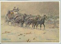 VINTAGE CHRISTMAS COWBOYS HOLIDAY STAGE COACH WIND SNOW NICK EGGENHOFER ART CARD