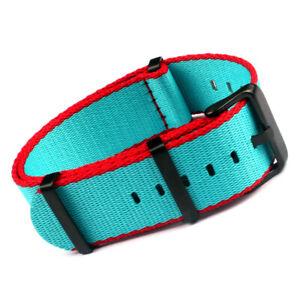 20 22mm Width Nylon Blet Watch Strap Band Military Sport Stripe Black Buckle