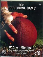 2007 Southern Cal USC Michigan Rose Bowl football program Chad Henne Mike Hart