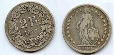 Gertbrolen Suisse  2 Francs Argent 1878 Ex 1     Confédération Helvetica Swiss