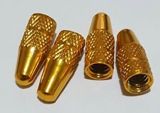 ** FREE P+P**  4 x GOLD  ALUMINIUM PRESTA VALVE CAP/DUST COVER  **UK SELLER**