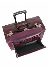 Mancini Leather Goods Deluxe Wheeled Catalog Case 90469-Burgundy