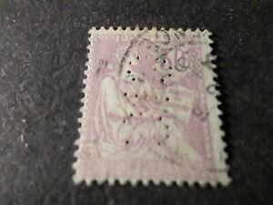 FRANCE 1902, timbre CLASSIQUE 128 MOUCHON, PERFORE', PERFIN STAMP, oblitéré