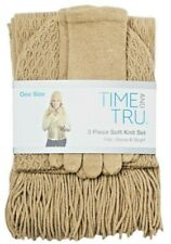 Time and Tru 3 piece soft knit set Brownstone Hat Beanie, Glove, and Scarf