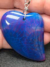 "Geode Agate Blue Heart Druzy Crystal Tibetan Silver 18"" Necklace D-235"