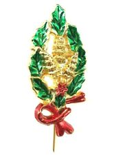 Vintage Gold Tone Christmas Brooch Pin Jewelry Red Bow Green Leaves