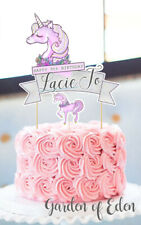 CAKE TOPPER DECOR *PERSONALISED* UNICORN PRETTY PINK LILAC BIRTHDAY PARTY