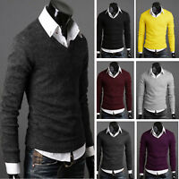 Mens Casual Slim Fit V-neck Knitted Cardigan Pullover Jumper Sweater Shirt Top