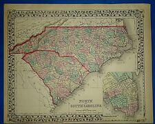 Vintage 1876 Atlas Map ~ NORTH & SOUTH CAROLINA ~ Old Antique Original