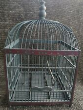"Vintage all wood handmade, hand painted green & maroon Birdcage 21""x11""x11&#034 ;"