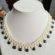 18 INCH Beautiful south sea Knitting black + white pearl necklace 14K gold clasp