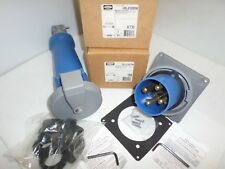 New In Box Hubbell Hbl4100c9w 100 Amp Connector Amp Hbl4100b9w Inlet Receptacle