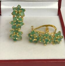 14k Solid Yellow Gold Three Flowers Omega Back Earrings, Natural Emerald 5TCW
