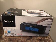 SONY ICF-C707 Dream Machine Clock Radio AM/FM Five Nature Sounds Black