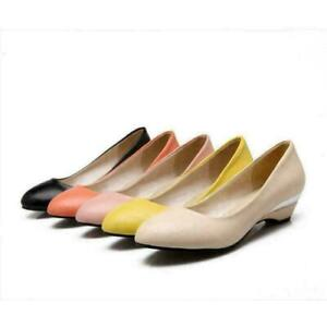 Womens Kitten Heels Round Toe Pumps Candy Color Leather Work Office Shoes Ladies