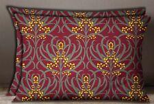 S4Sassy Floral Print Maroon 2 Pcs Cotton Poplin Sham Cushion Cover Home Decor