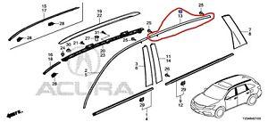 72925TZ5A01 Acura OEM 14-20 MDX Right Rear Door Upper Chrome Molding