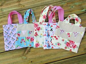 Little Girls First Fabric Tote Bag Unicorn Alice in Wonderland or Floral Prints