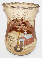 VINTAGE HAND MADE PAINTED CLAY CUT OUT POTTERY VASE TREES WATER MILL LAKE HOUSE